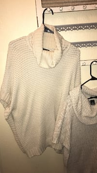 White knitted poncho, the buttoned sweater is a m and the other is a one size fits all! great with thigh high boots!
