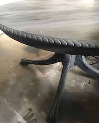 """54"""" round solid wood grey table. Vintage table w crack but SOLID refinishers DREAM!! Temecula, 92591"""