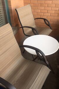 2 patio Chairs and table