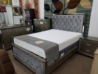 Queen mirrored bedroom set with bed dresser mirror night stand chest College Park