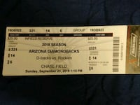 2 Tickets for today's game Phoenix, 85009