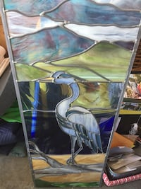 Stained glass heron
