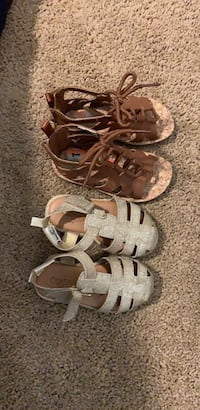 Brown sandals size 7c and gold size 5c Lancaster, 93536