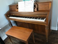 brown wooden upright piano with chair Denison, 75020