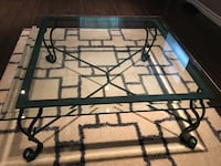 Large Real glass rod iron table great condition