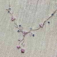 Vintage Sterling Silver Blue & Pink Sapphire Floral Design Necklace Ashburn