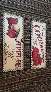 seeds tomatoes and apples crisp and delicious wooden signboard Langley, V3A 2C5
