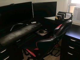 Computer desk and gaming chair