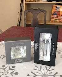 Oleg Cassini crystal perfume bottle and crystal votive