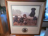 "John Akers Signed Framed Limited Print ""Labradors With Decoy"" Catharpin"