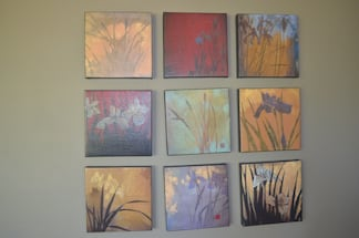 Set of 9 canvas wrapped prints featuring wild irises