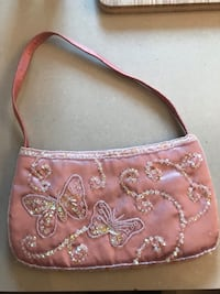 Pink beaded butterfly purse