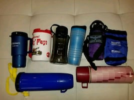 Vintage thermos & koozie bottle lot