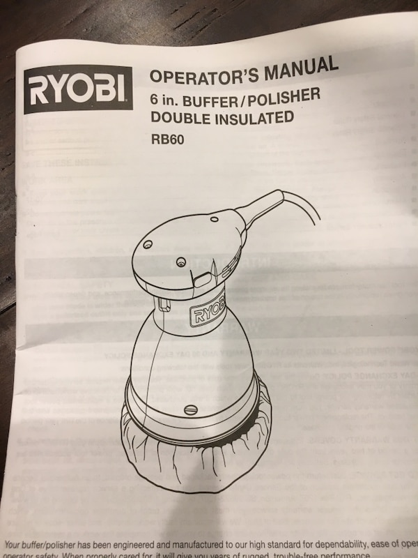 "Ryobi 6"" buffer polisher with  Carrying Case"
