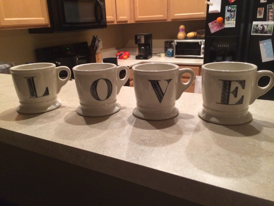 anthropologie l o v e letter mugs