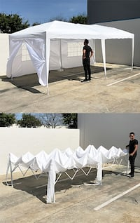 New $170 White 10x20 ft EZ Pop Up Canopy w/ 6 Side Walls, Carrying Bag South El Monte