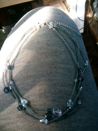 Grey & Clear Glass Bead Necklace