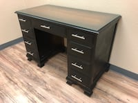 Small solid wood executive desk with glass top - obo