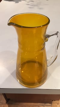 Yellow Heavy Glass Pitcher with Clear Blown Glass attached Handle Elkton, 21921