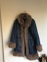 Women's jeans brown fur winter coat 537 km