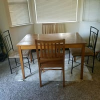 rectangular brown wooden table with four chairs dining set Murphys, 95247