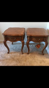 Two brown wooden side tables $100 each Rockville, 20850