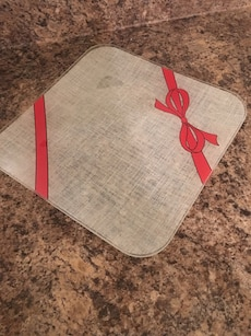 Red bow glass platter