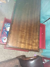 rectangular brown wooden framed glass-top coffee table 445 mi