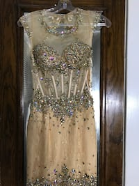 Beige and clear gemstones embellished sleeveless dress
