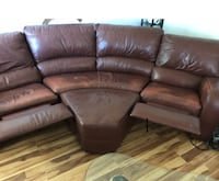 Brown leather couch and ottoman Westminster, 80021