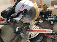 white and black Ryobi miter saw 3477 km