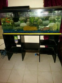 black and red glass top TV stand Bakersfield, 93307