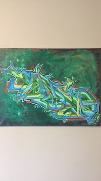 Green and blue abstract painting, street art Calgary, T2R