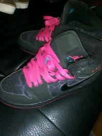 pink and black fur black nike air jordans size 5y Gresham
