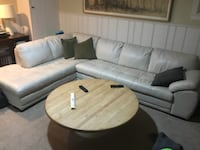 white leather sectional sofa with throw pillows WASHINGTON