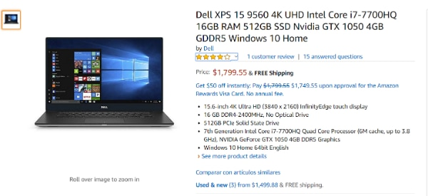 Dell XPS 15 9560 laptop (i7-7700HQ, 16GB RAM, 512GB SSD)