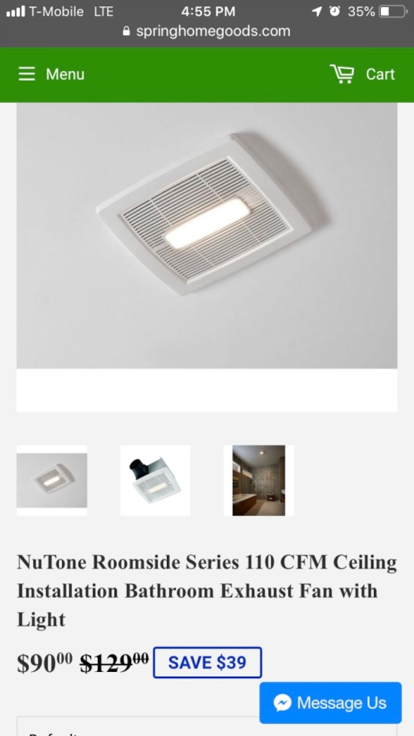 NuTone Roomside Series 110 CFM Ceiling Installation Bathroom Exhaust Fan  with Light