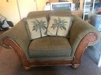 brown wooden framed gray padded armchair San Diego, 92124