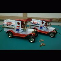 Set of 2 Pepsi cola die cast delivery truck coin banks