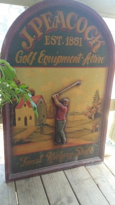 Antique golf picture on cherry wood great conditio
