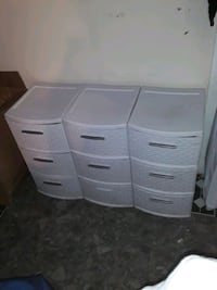White plastic drawers
