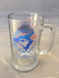 clear glass beer mug with blue and white printed Hamilton, L9C 6J6