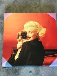 Marilyn Monroe holding puppy poster