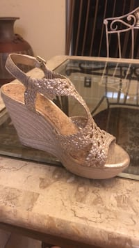 pair of brown leather open-toe heeled sandals Cape Coral, 33993