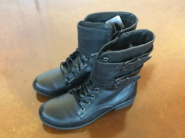 Pair of black leather side-zip combat boots