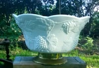 Vintage milk glass footed punch bowl and luncheon  Creedmoor, 78610
