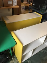Commercial grade Preschool or Daycare Furniture.  ONE Yellow shelf AND ONE green Table