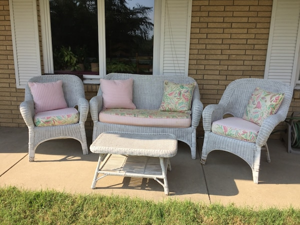 White Wicker Set  Four Piece With Cushions and Pillows.