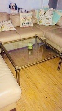Beautiful large square glass-top table with brass/steel base & frame (approx 2.5ft X 2.5ft X 1.25ft) 354 mi