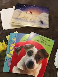 Greeting cards all kinds thinking of you happy birthday pet oriented and Marine Corps envelopes have matching envelopes for all the cards. Manassas Park, 20111